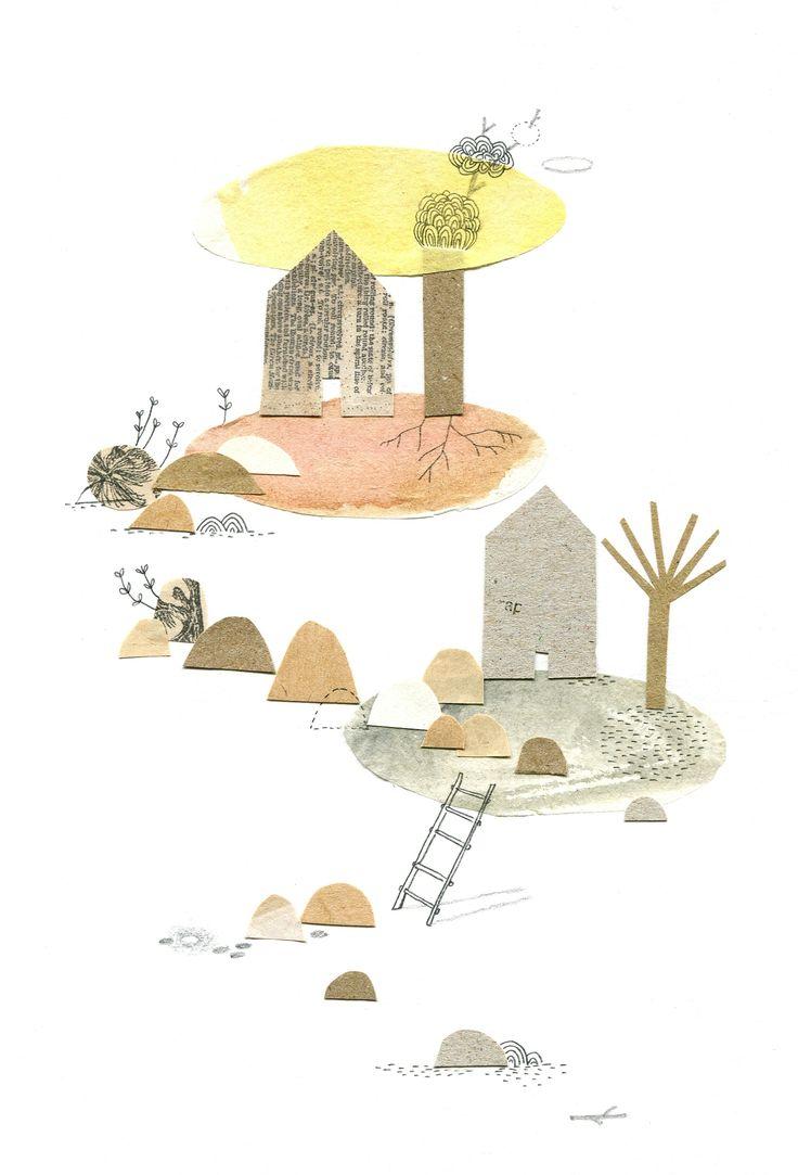 """home again"", collages, Cécile Hudrisier"