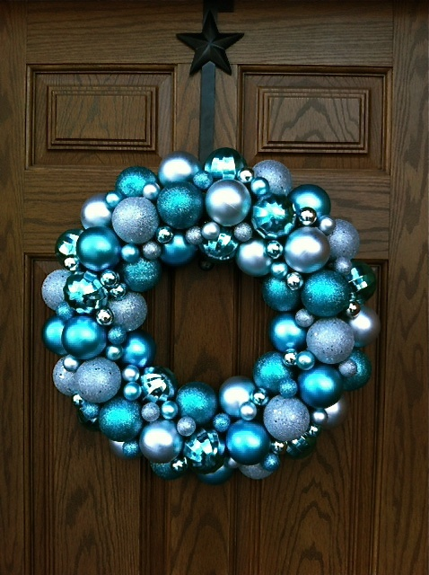 Blue and Silver Christmas Wreath.  I finally made it! This is a picture of mine on our front door.