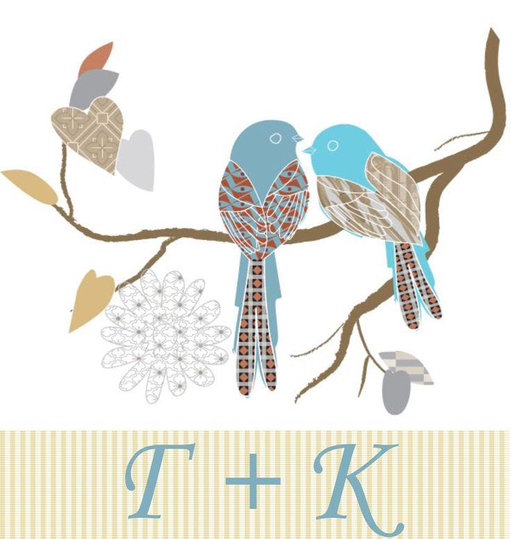 προσκλητήριο love birds και τα αρχικά του ζευγαριού