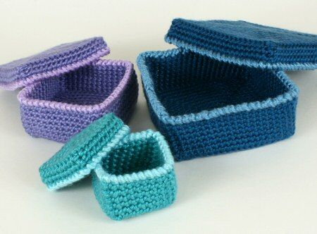 Crochet Gift Boxes.  would be great to use in giving, as the boxes are reusable.