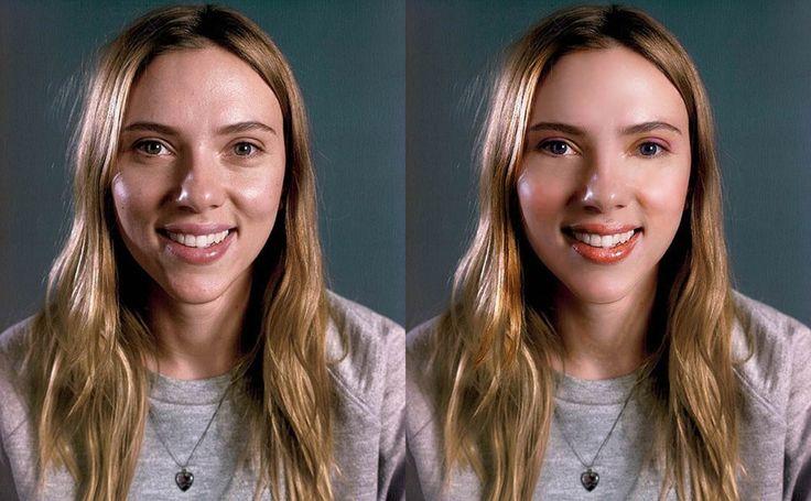 scarlett johansson beautiful photoshop makeup