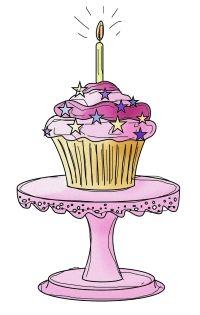 free birthday cupcake digital stamp set coloured
