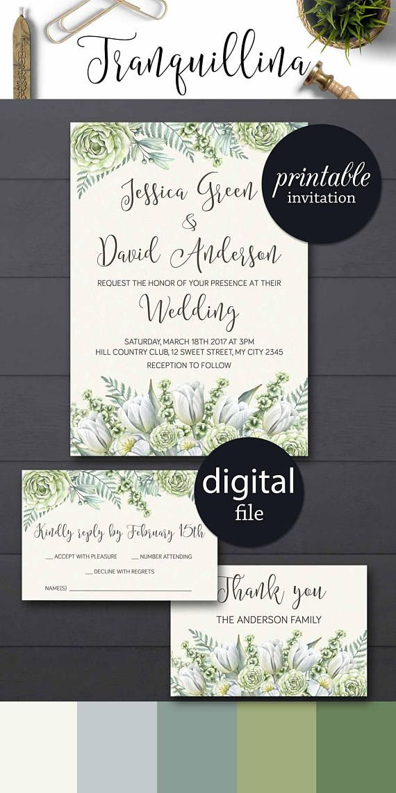 ideas for country wedding invitations%0A Greenery Wedding Invitation Grren Floral Wedding Invitation set  DIY wedding  ideas   greenery
