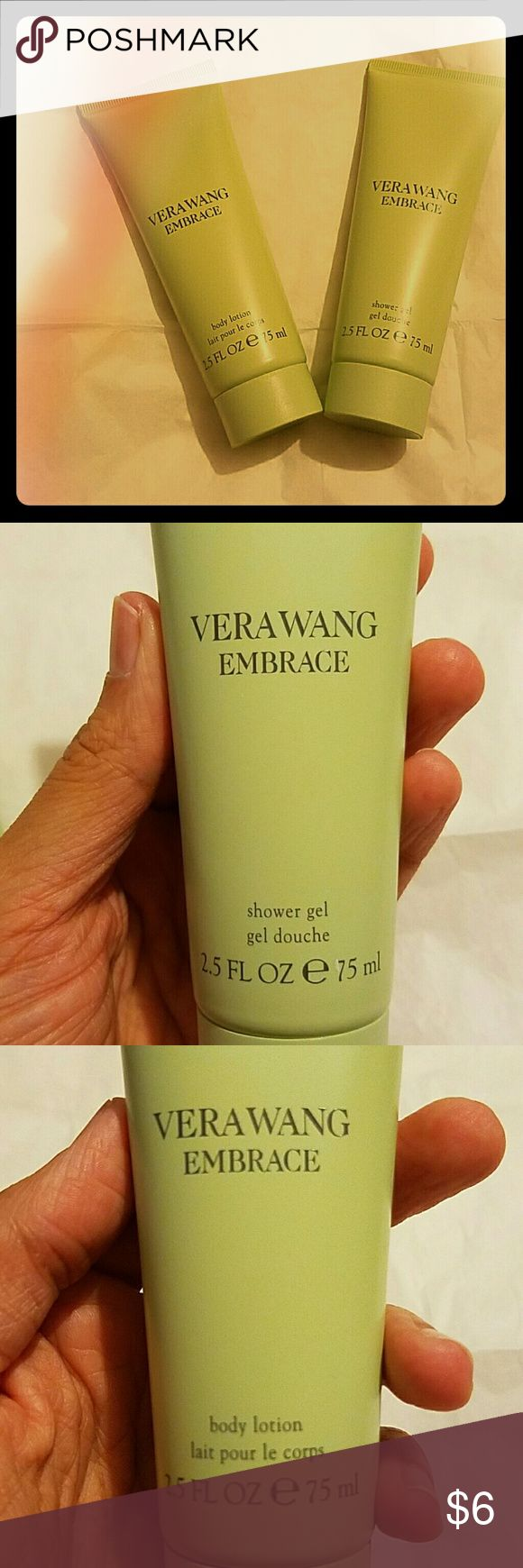 TWO Vera Wang Items MAKE IT BETTER, MAKE IT A BUNDLE!  1-Vera Wang Embrace Body Lotion 2-Vera Wang Embrace Shower Gel  Scent is green tea and pear blossom. This was part of a 3pc set, but I kept the perfume ;)   UNBOXED BUT NEVER USED! PRICE IS FOR BOTH!  ***Original price was actually $26 with perfume. Vera Wang Other