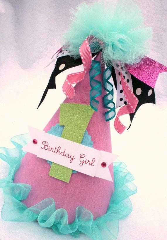 Cute birthday girl party hat.