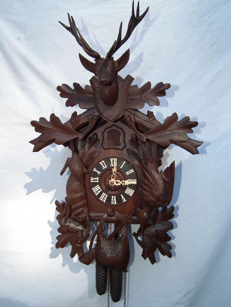 German Cuckoo Clock Antique Black Forest Hunter Bone Hands