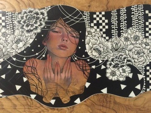 This is a great painting by Audrey Kawasaki which we saw at the Juxtopoz art show in Los Angeles.  This piece and others can be seen on our blog.  Check out all the amazing footage and write ups.