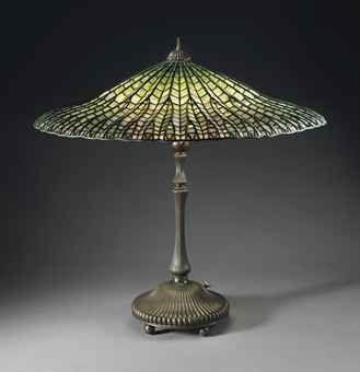 Lead Glass   TIFFANY STUDIOS   A 'LOTUS' LEADED GLASS AND BRONZE TABLE LAMP, CIRCA ...