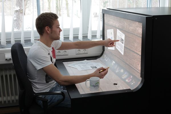 Bendesk - multi touch computer desk.