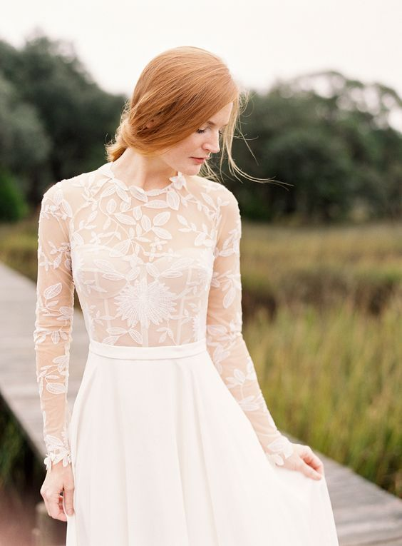 Sheer embroidered lace wedding dress: http://www.stylemepretty.com/2016/03/29/the-prettiest-wedding-details-for-every-season/