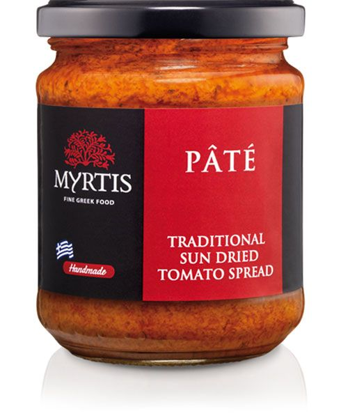 Myrtis Sundried Tomato Spread, made from fresh tomatos dried under the Greek sun. A delicacy of the Mediterranean diet, rich and concentrated, it can be used as a pasta or pizza sauce or served as a dip, with toasted bread strips. It makes for a delicious sauce for barbecued meats and cutlets and gives grilled vegetables a whole new taste.