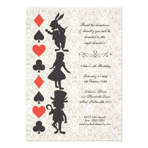 Alice no país das maravilhas carda o aniversário d convites personalizados
