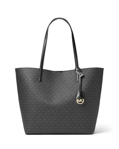New V34AE MICHAEL Michael Kors Hayley Large East-West Logo-Print Tote Bag Black/Gray @ Price $248 At:Neiman Marcus