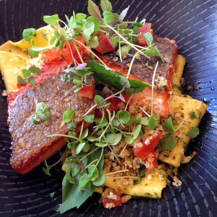 Pan seared salmon with pappardelle