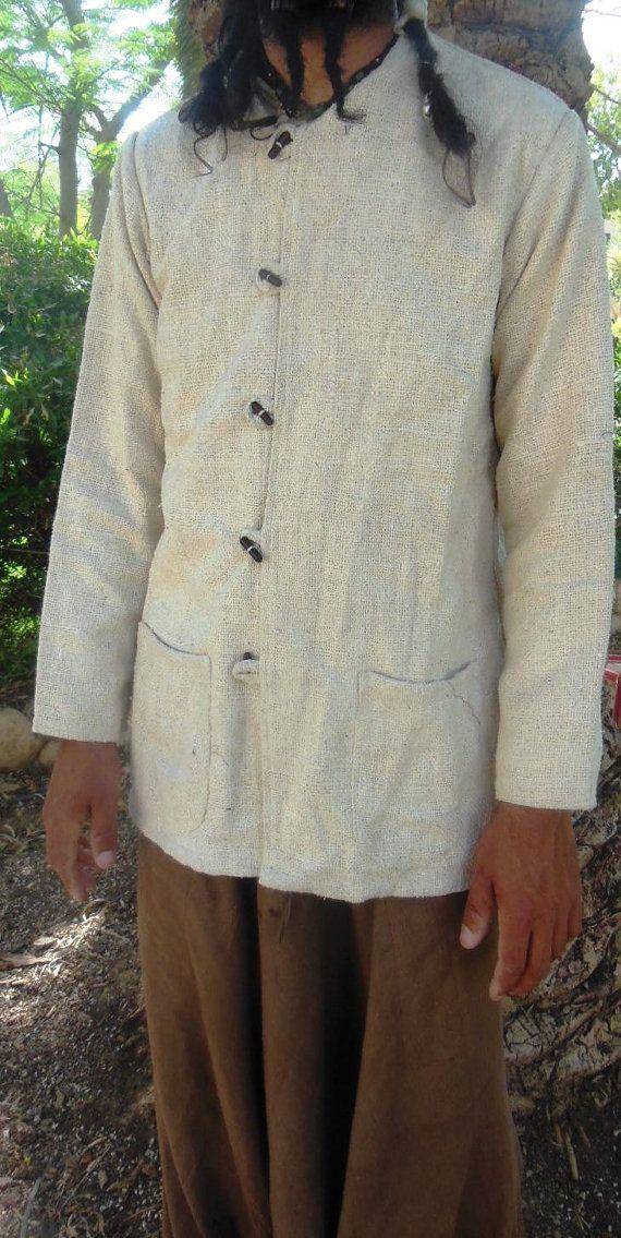 Cream Raw Silk Men Jacket  by PrimitiveTribalCraft on Etsy