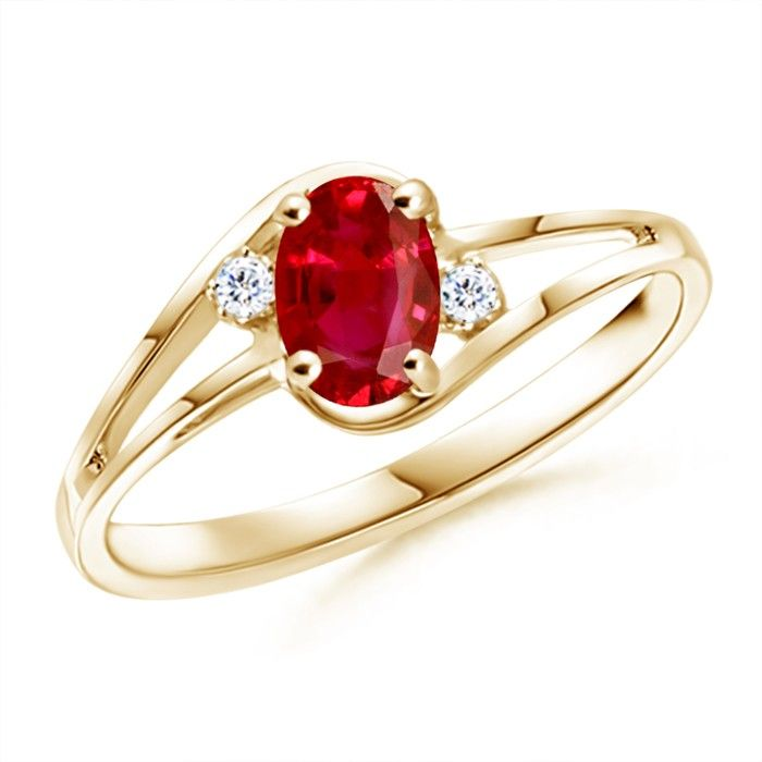 Angara Prong Set Round Ruby Curved Shank Ring in 14k Yellow Gold S5CYx