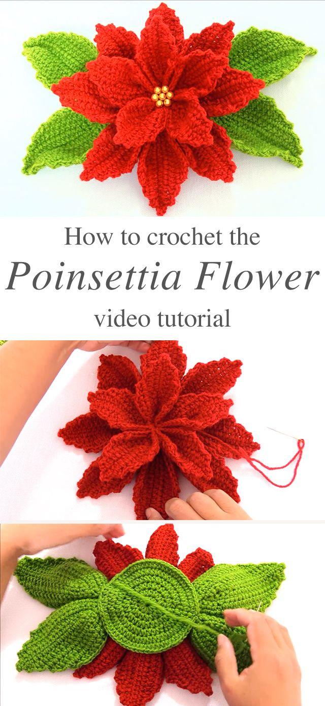 Poinsettia Crochet Flower Pattern Tutorial Needles Crochet