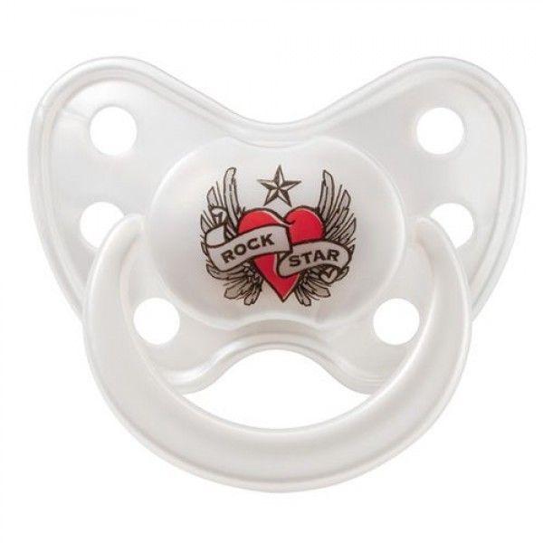 Rock Star Baby Dentistar mit Ring - Schnuller im Rockstar-Design (Herz und Flügel)