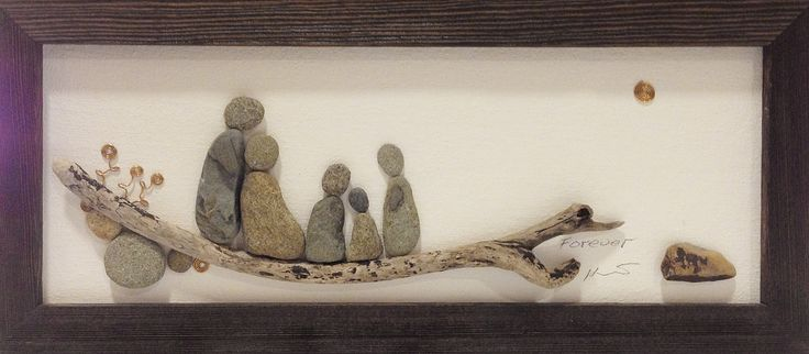 Pebble Art: Pebbles & Driftwood on canvas.
