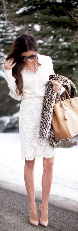 White Dress ,Camel Bag ,Nude Pumps & Leopard Print looks amazing together