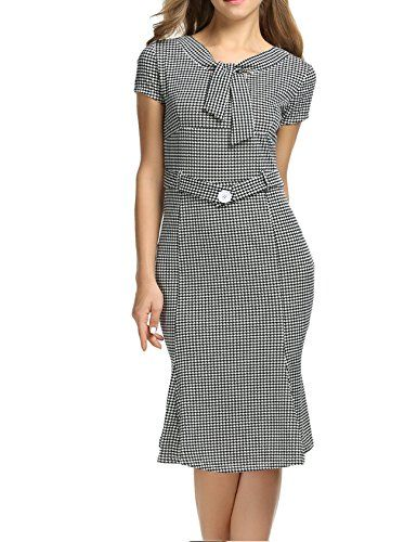 ANGVNS Ladies Vintage Houndstooth-Print Bow Slim Retro Dress For Party