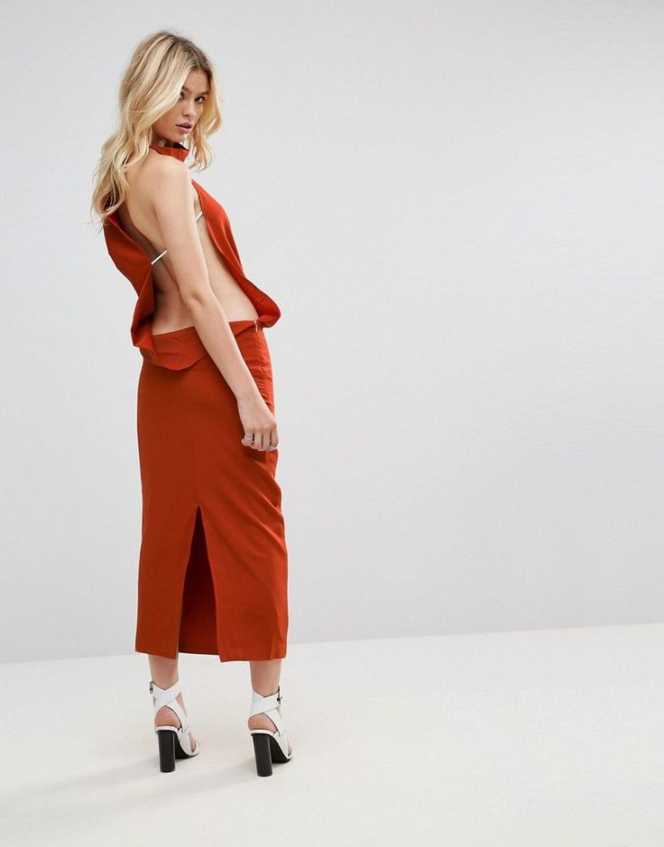 Get this None The Richer's evening dress now! Click for more details. Worldwide shipping. None The Richer Backless Asymmetric Dress - Orange: Evening dress by None The Richer, Stretch woven fabric, High neck, Drape front, Open back, Contrast side straps, Zip-side fastening, Kick split, Regular fit - true to size, Hand wash, 85% Polyester, 15% Spandex, Our model wears a UK S/EU S/US XS and is 176cm/5'9.5 tall. (vestido de noche, noches, fiesta, fiestas, night, party, abendkleid, vestido de…