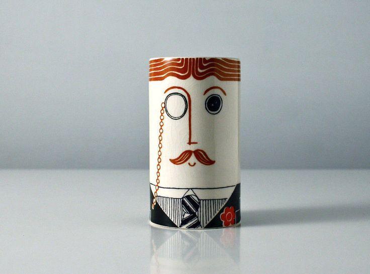 Carlton Ware pepper shaker Carltonware 1970s man's face cruet. Top hat salt toff