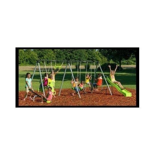 Outdoor-Swing-Set-Playground-Backyard-Kids-Air-Glider-Slide-Porch-Play-Metal-Gym