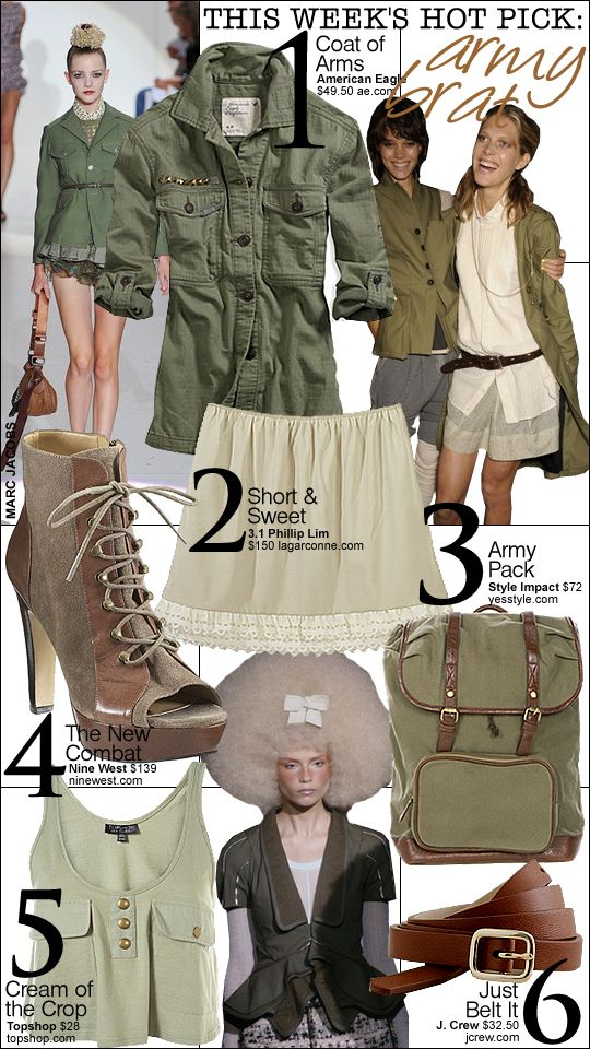 Another example of how to mimic army looks from the runway. While this is all about the greens, it can be broadly interpreted and styled successfully with many items.