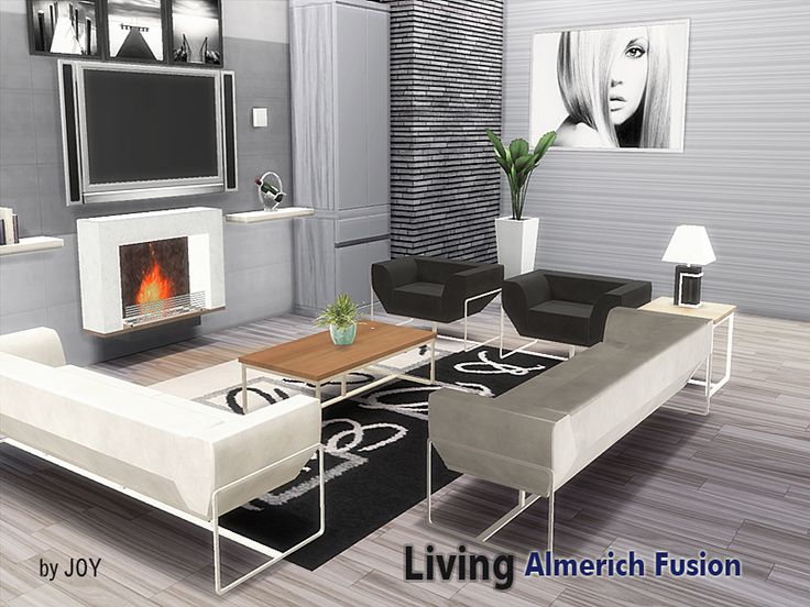 A modern living room set.  Found in TSR Category 'Sims 4 Downloads'