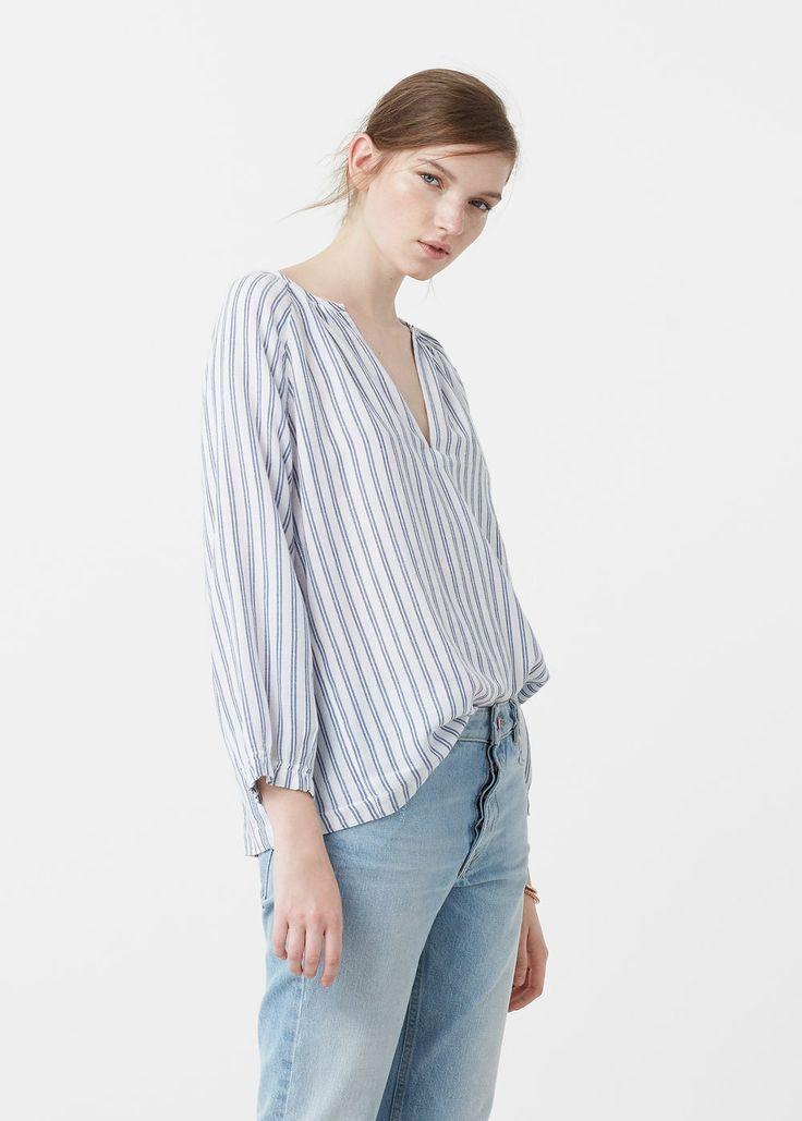 Bawełniana bluzka w pasy | MANGO