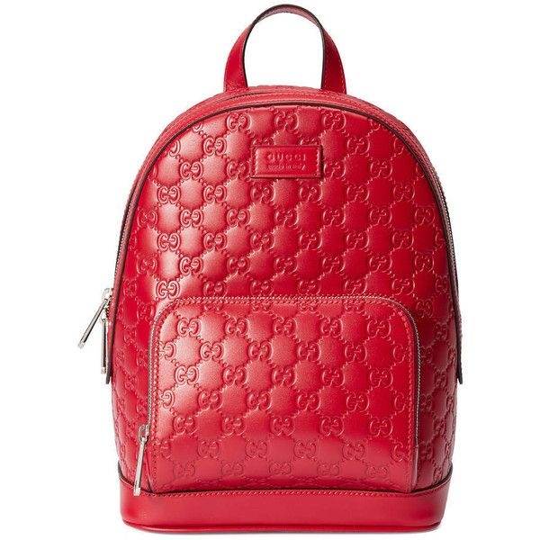 Gucci Signature Leather Backpack (2 544 295 LBP) ❤ liked on Polyvore featuring bags, backpacks, red, leather rucksack, gucci backpack, patterned backpacks, pocket backpack and genuine leather backpack