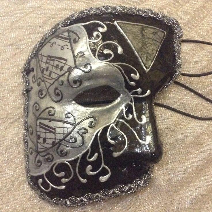 "Venetian costume mask phantom of the opera, handmade, wearable, wall decoration, in black n silver ""Musical Phantom"" by EthnicDrops on Etsy https://www.etsy.com/listing/270297322/venetian-costume-mask-phantom-of-the"