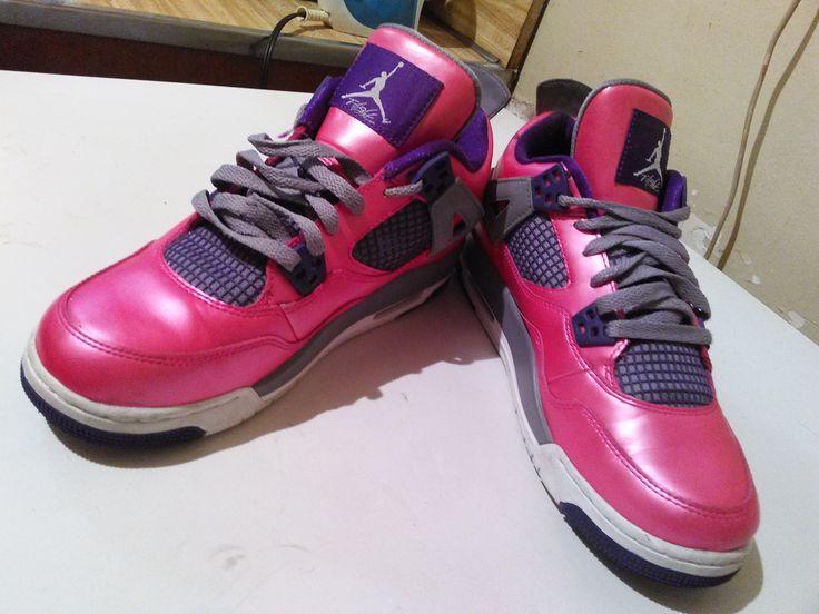 Come list sneakers for FREE! Air Jordan 4 Retro GS - Pink/Purple-Grey #sneakerfiend #flykicks #snkrhds #instakicks #sneakerheads #shoegame #airjordan - http://sneakswap.com/buy-retro-sneakers/air-jordan-4-retro-gs-pinkpurple-grey/