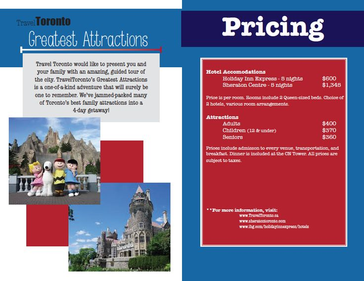 """Geography of Tourism"" class assignment. Inside of travel brochure: introduction and prices."