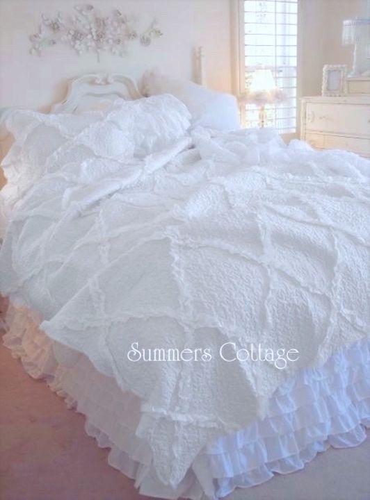 Diamond ruffle dreamy white throw quilt shabby cottage chic romantic ruffles