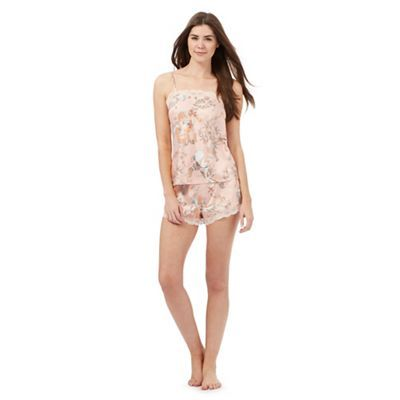 The Collection Pink satin floral print vest and shorts set | Debenhams