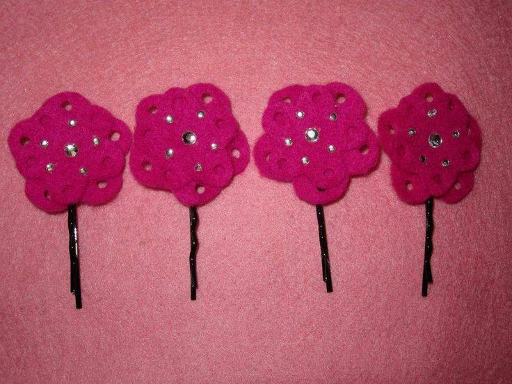 mini horquillas flores con agujeritos