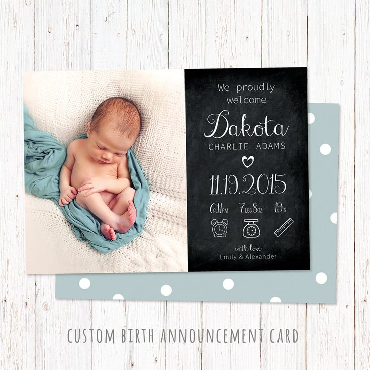 Personalized birth announcement card. Baby boy & girl announcement card. Custom newborn card made to order. Digital file 5x7 inch. by PenguinGraphics on Etsy