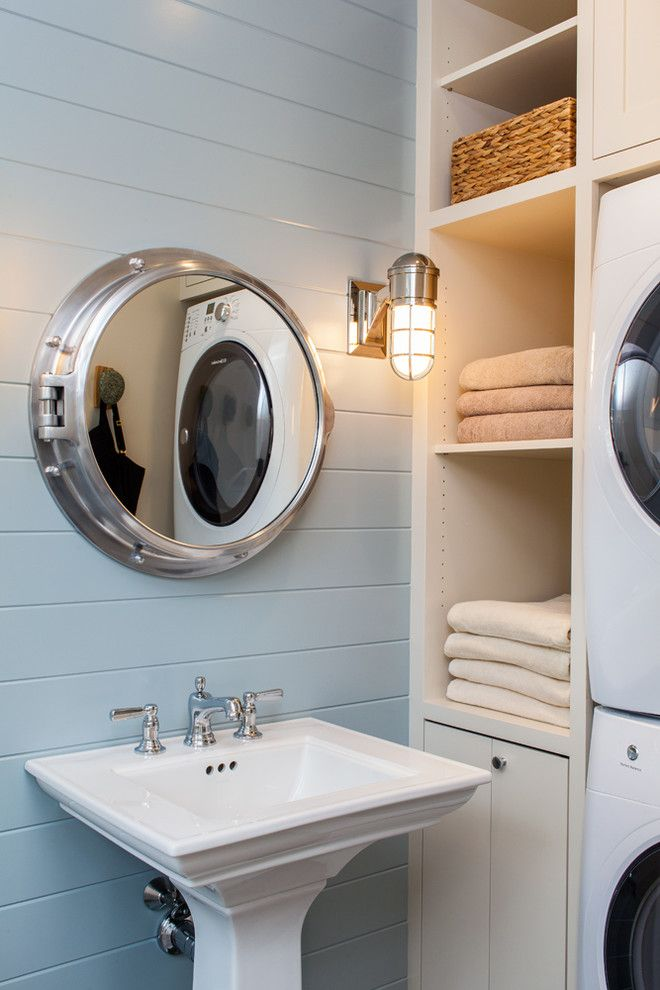 Glamorous Nautical Lighting technique Boston Beach Style Bathroom Image Ideas with laundry light blue nautical light nautical theme Portal Mirror washer dryer                                                                                                                                                                                 More