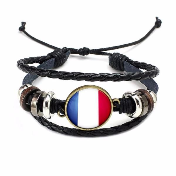 France National Flag Layered Leather Bracelet