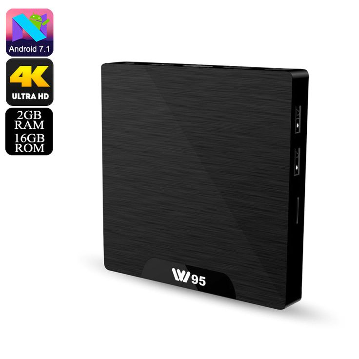 W95 Android TV Box - 4K Support, WiFi, Google Play, Kodi TV, Android 7.1, Quad-Core CPU, 2GB RAM, DLNA - The W95 Android TV Box supports Ultra-HD 4K resolutions. It runs on Android 7.1 and treats you to WiFi connectivity, Miracast, and DLNA.
