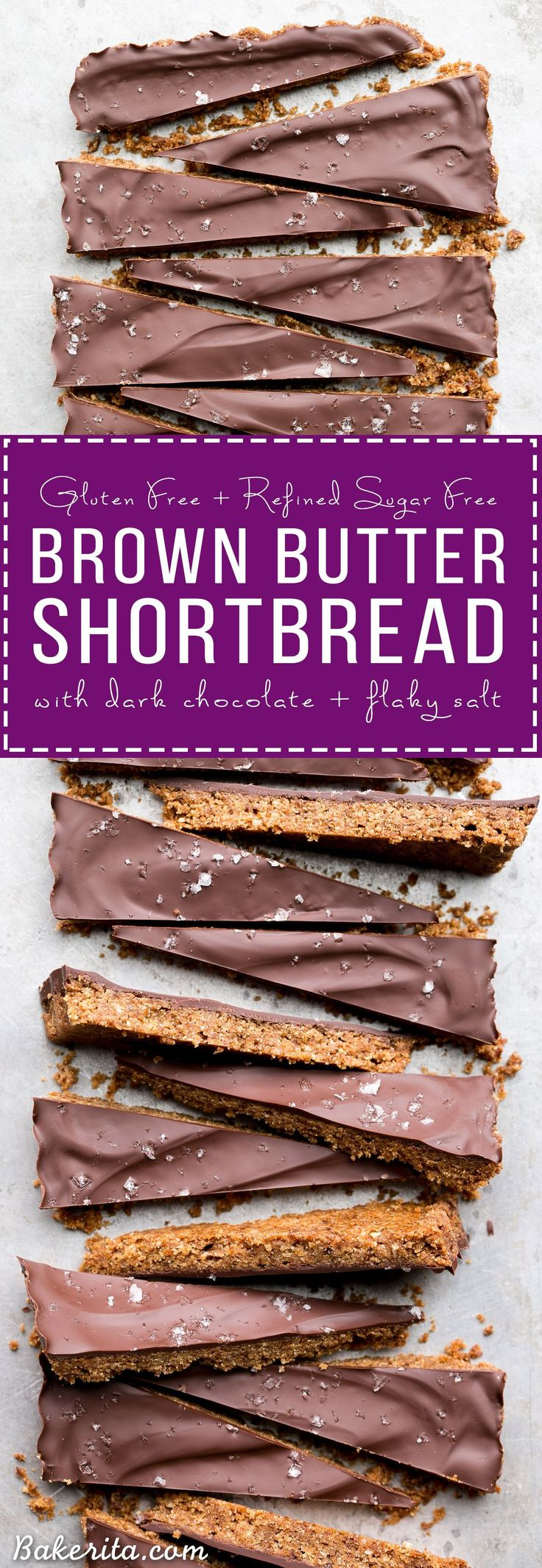 These Brown Butter Shortbread are crisp and buttery with dark chocolate + flaky sea salt on top. These gluten free & refined sugar free cookies melt in your mouth and make the perfect addition to your holiday cookie tray!