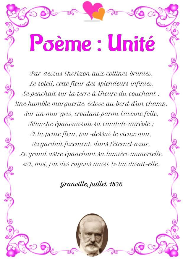 Poesie D Amour Unite Poeme De Victor Hugo