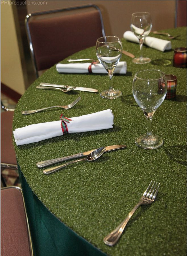 Golf inspired tablescape incorporating astro turf to resemble a putting green. Also great for other sports parties