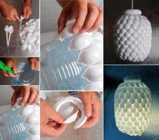 gave lamp gemaakt met plastic lepels