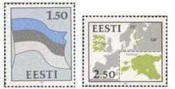 #209-210 Estonia - Flag and Map, Set of 2 (MNH)