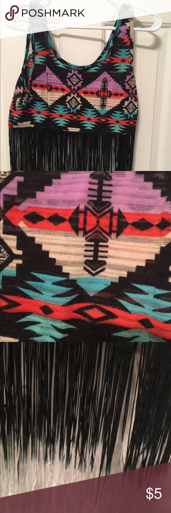 Aztec crop top Aztec print crop with black/white ombré fringe Tops Crop Tops