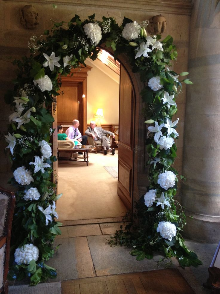 Beautiful flowers adorning a Castle archway leading from the Great Hall...