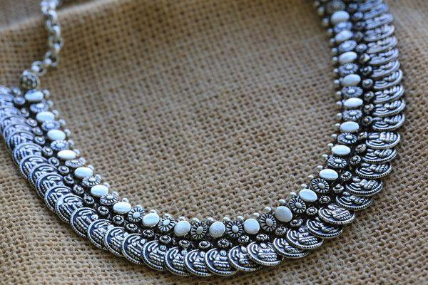 Silver Lakshmi / Laxmi motif coin necklace - AristaBeads Jewelry - 1
